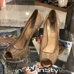 Valentino Gold Peep Toe Platform Heels